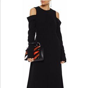Tibi crop shoulder stretch midi dress